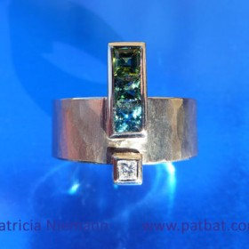 Bespoke Ring made from 18ct White Gold with three colour-graded Tourmalines and a Diamond in Princess Cut