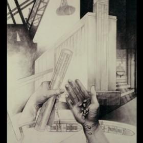 Jenny Bruce, Meadowside Granary. Pencil drawing, 36 x 24,1990