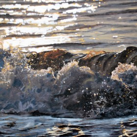 White and Gold Sun on the Wave by Lisa Weller